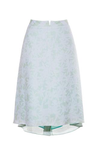 Medium kenzo green light green palms double georgette jacquard skirt