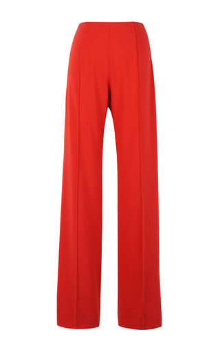 Medium jonathan saunders red krista satin boot cut trousers
