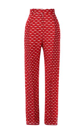 Medium jonathan saunders ivory celeste jacquard trousers in red