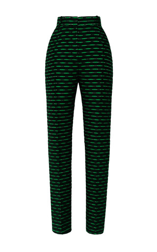 Medium jonathan saunders black celeste jacquard trousers in green