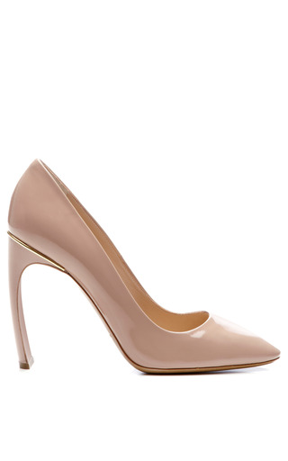 Medium nicholas kirkwood nude patent leather curved heel pumps