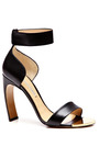 Black Kid Ankle Strap Sandal With Curved Heel by NICHOLAS KIRKWOOD Now Available on Moda Operandi