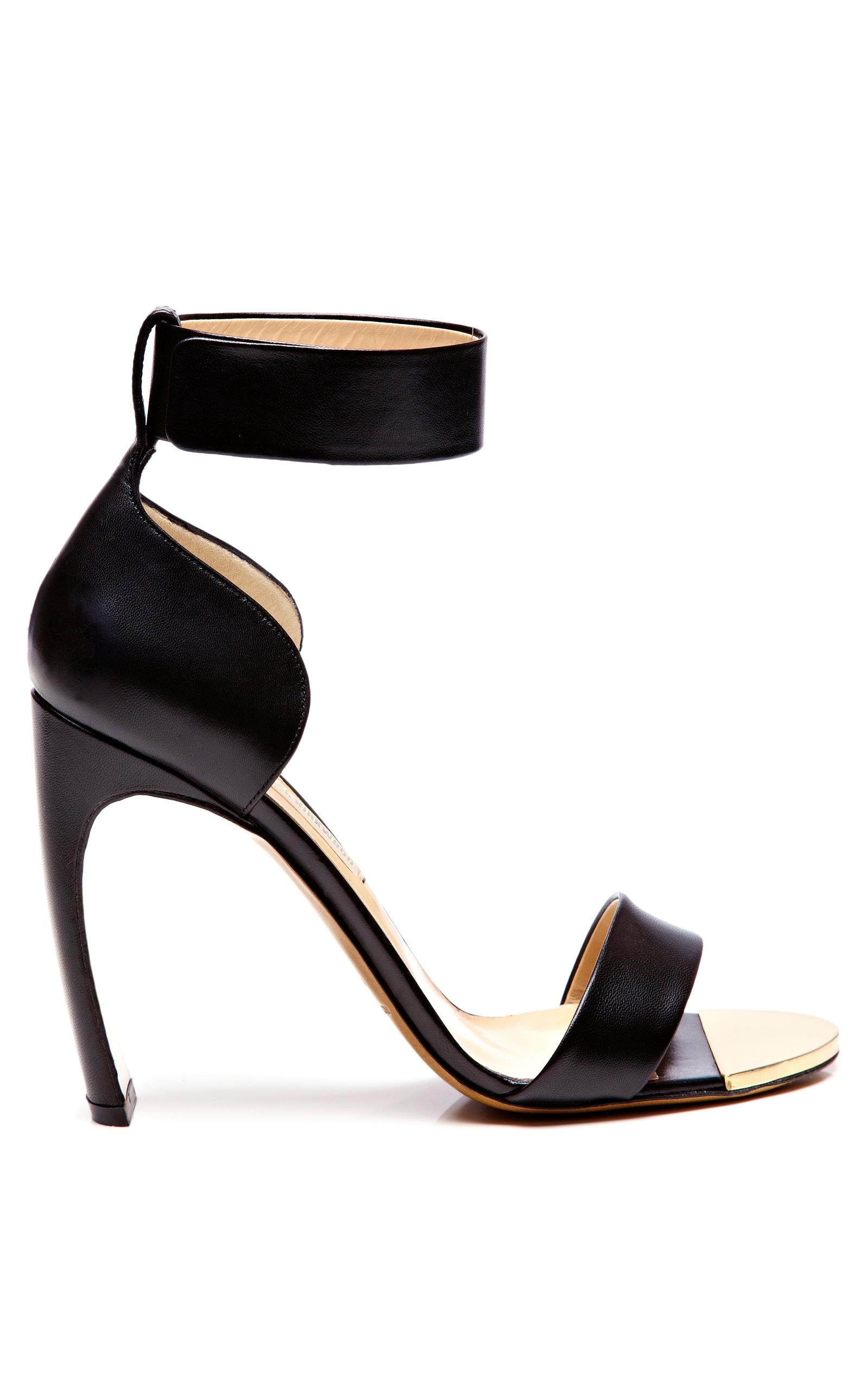 6d2692c42ba Nicholas KirkwoodBlack Kid Ankle-Strap Sandal with Curved Heel. CLOSE.  Loading