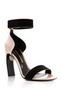 Swarovski Embellished Suede And Satin Sandals by NICHOLAS KIRKWOOD Now Available on Moda Operandi