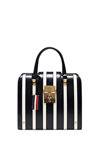Medium thom browne blue mrs thom junior striped leather tote