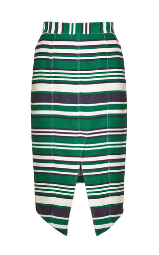 Angled Hem Silk Blend Piqué Skirt by THOM BROWNE Now Available on Moda Operandi