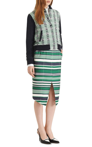 Letterman Tweed And Suede Jacket by THOM BROWNE Now Available on Moda Operandi