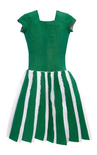 Medium thom browne green pleat detail silk faille dress