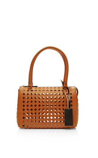 Medium marni brown mini laser cut leather handbag