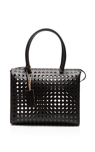 Medium marni black laser cut leather tote