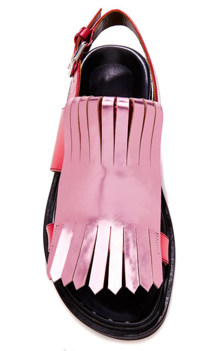 Metallic Leather Fringe Detail Sandals by MARNI Now Available on Moda Operandi