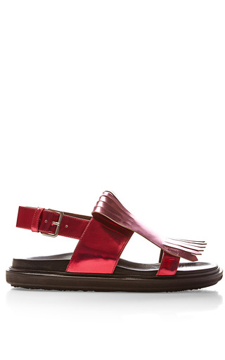 Medium marni brown metallic leather fringe detail sandals