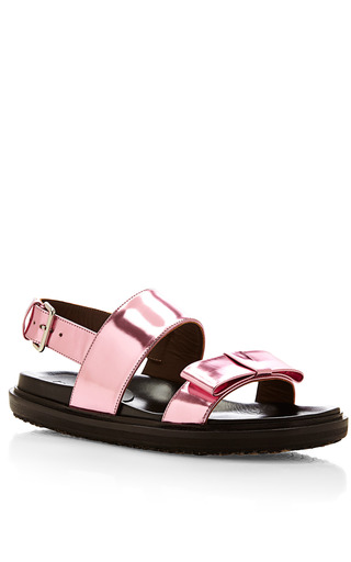 Metallic Leather Bow Detail Sandals by MARNI Now Available on Moda Operandi