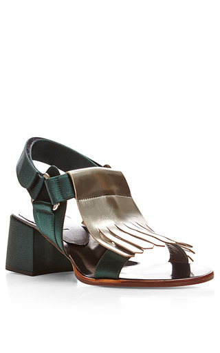 Metallic Leather Block Heel Sandals by MARNI Now Available on Moda Operandi