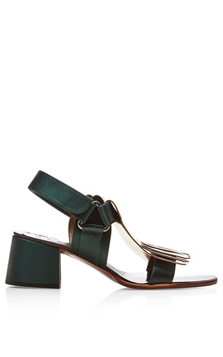 Medium marni green metallic leather block heel sandals