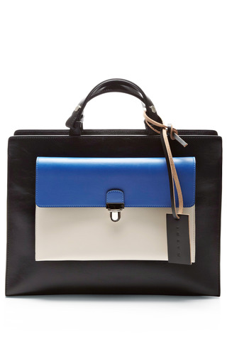 Medium marni multi leather tote with detachable wallet