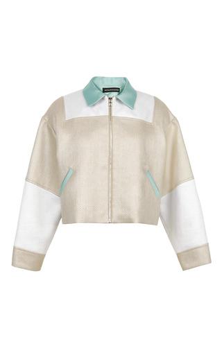 Medium ostwald helgason light green raffia weave safari jacket