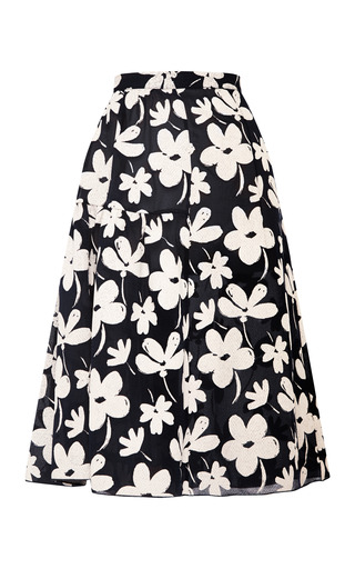 Medium marni white floral print flared gauze skirt