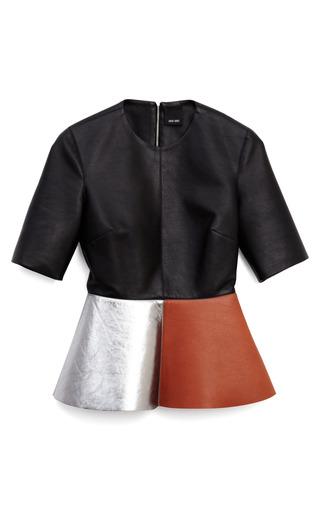 Medium josh goot tan simple leather peplum tee