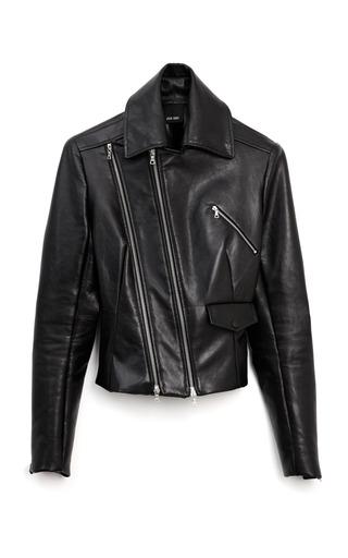 Medium josh goot black simple leather biker jacket