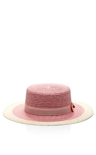 Medium federica moretti pink straw skimmer hat