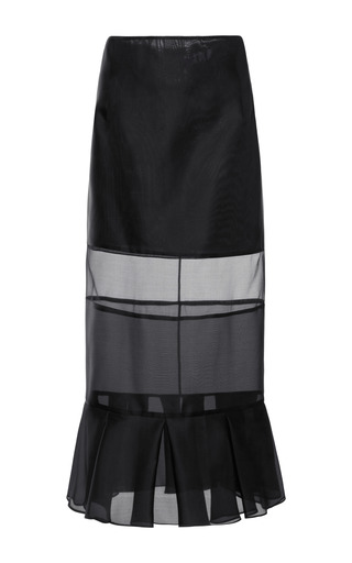 Medium karla spetic black paneled silk organza midi skirt
