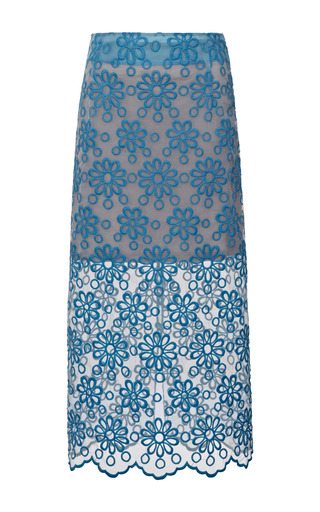 Medium karla spetic blue faith floral embroidered organza midi skirt