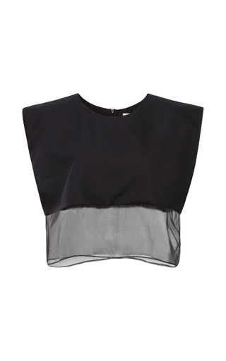 Medium karla spetic black francis organza trimmed cropped top