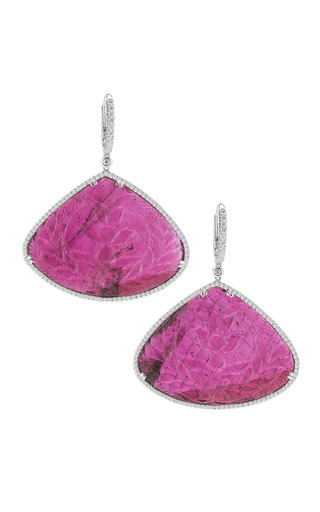 Medium dana rebecca pink carved tourmaline gold and diamond earrings