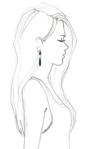 Watermelon Tourmaline, Gold And Diamond Drop Earrings by DANA REBECCA for Preorder on Moda Operandi