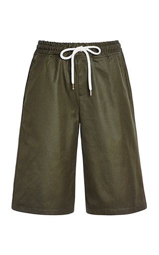 Medium msgm green drawstring waist cotton shorts