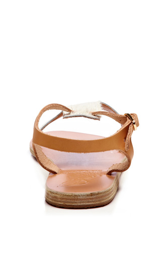 Leather And Calf Hair T Strap Sandals by ANCIENT GREEK SANDALS Now Available on Moda Operandi