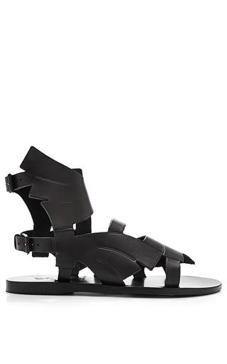 Medium ancient greek sandals black carven banana leaf winged leather sandals 2