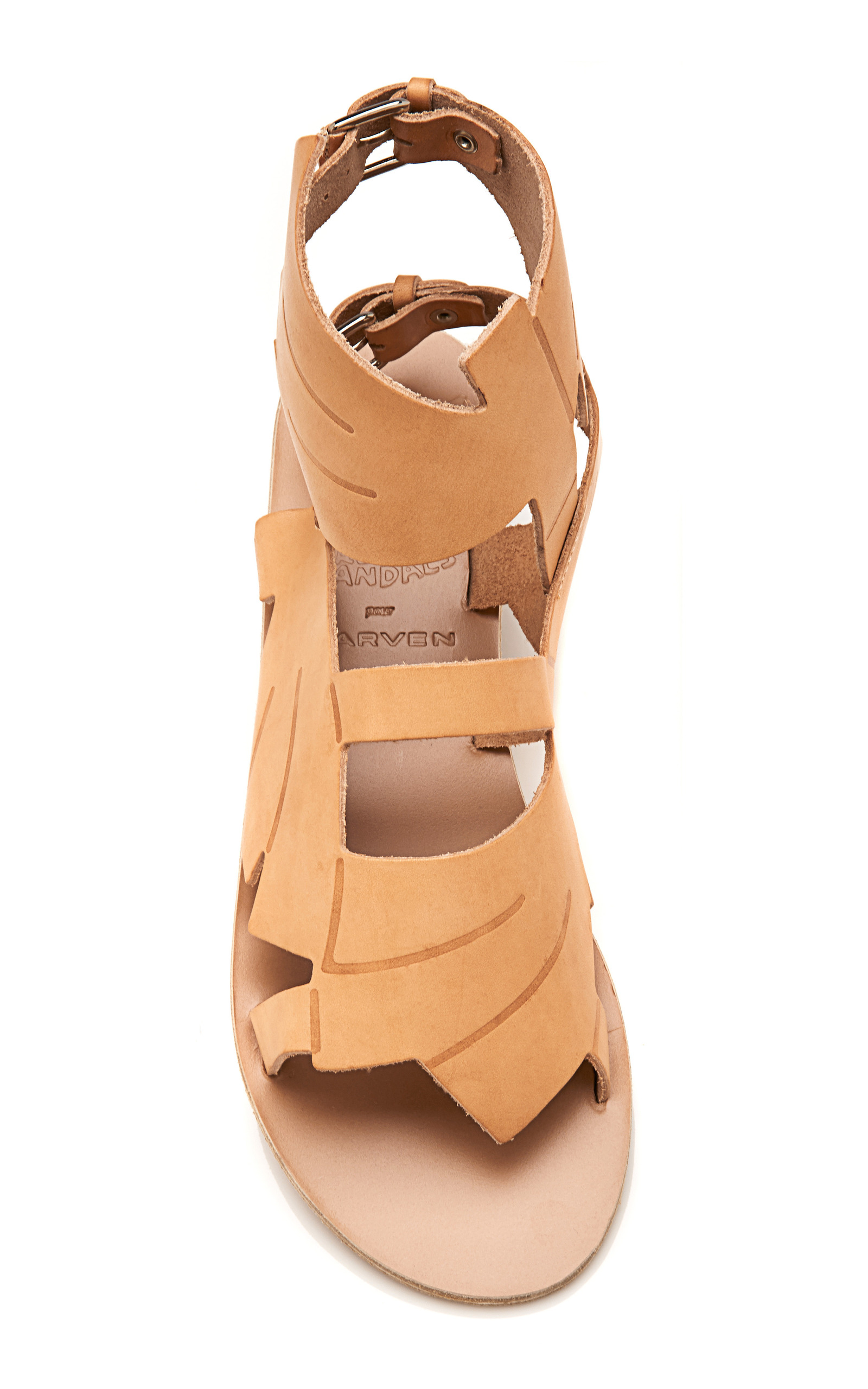 For Carven Banana Leaf Winged Leather Sandals In Beige