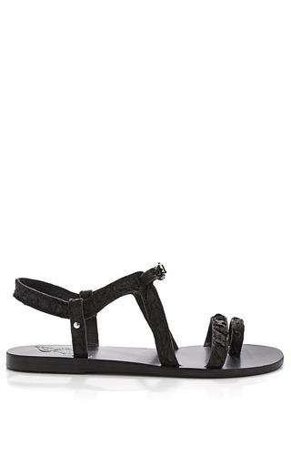 Medium ancient greek sandals black distressed leather sandals 2