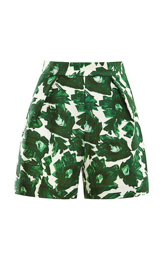 Medium mother of pearl green printed cotton sateen tailored shorts