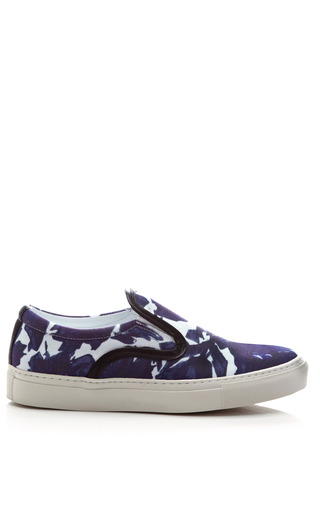 Medium mother of pearl blue printed slip on canvas sneakers