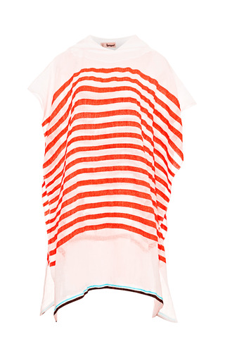 Medium lemlem orange lilly striped hooded poncho