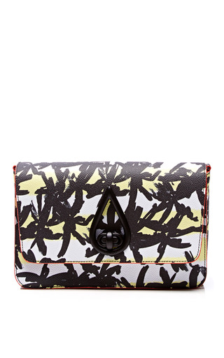 Printed Textured Leather Clutch by KENZO Now Available on Moda Operandi