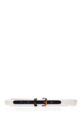 Medium maison boinet khaki tricolor skinny leather belt