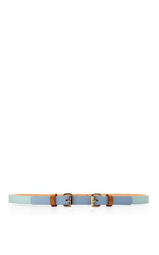 Medium maison boinet brown double buckle tricolor skinny leather belt