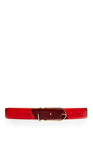Medium maison boinet burgundy grained leather patchwork belt 2