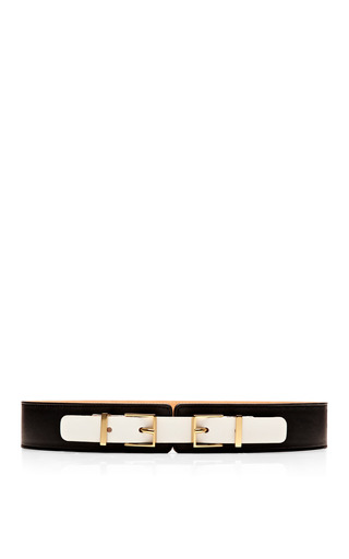 Medium maison boinet white double buckle leather belt