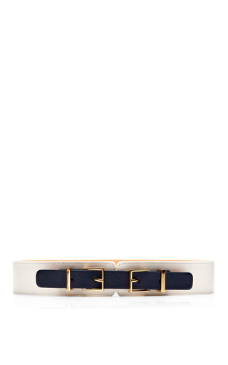 Medium maison boinet black double buckle leather belt 2