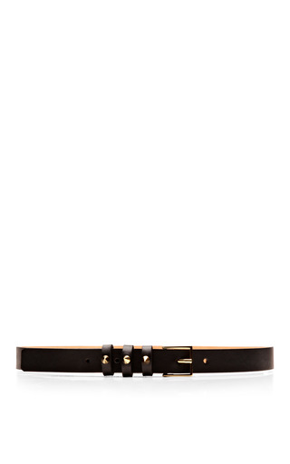 Studded Textured Leather Skinny Belt by MAISON BOINET Now Available on Moda Operandi