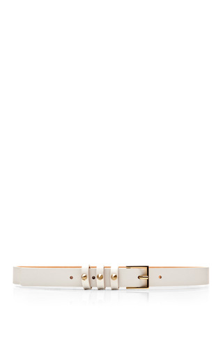 Medium maison boinet white three stud loop leather belt