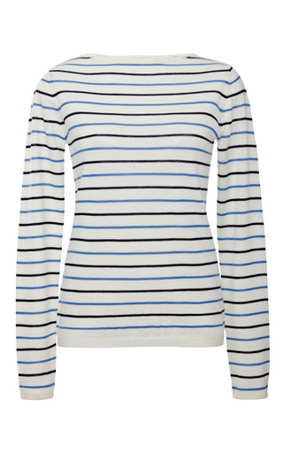 Medium demy lee white gwen wool striped sweater