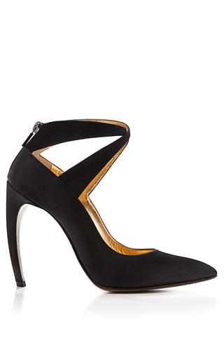 Medium walter steiger black curved heel satin pumps