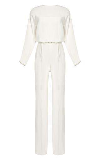 Medium valentino white silk crepe split back jumpsuit
