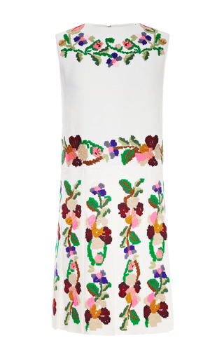 Medium valentino multi embroidered pleated cady dress